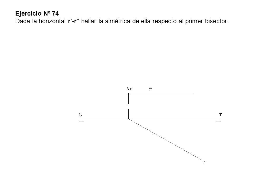 Ejercicio Nº 74 Dada la horizontal r -r hallar la simétrica de ella respecto al primer bisector.