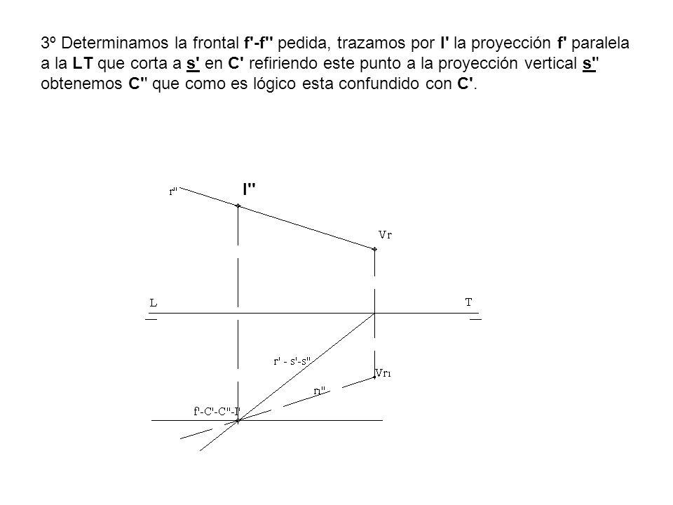 3º Determinamos la frontal f -f pedida, trazamos por I la proyección f paralela a la LT que corta a s en C refiriendo este punto a la proyección vertical s obtenemos C que como es lógico esta confundido con C .