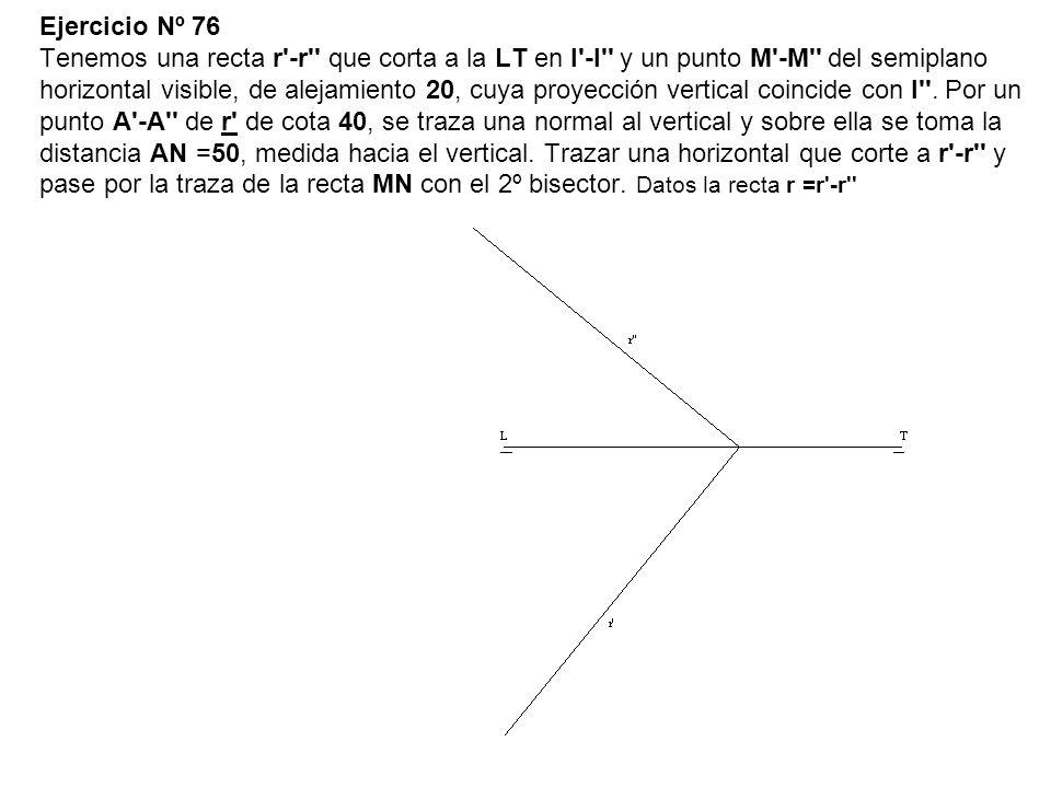 Ejercicio Nº 76 Tenemos una recta r -r que corta a la LT en I -I y un punto M -M del semiplano horizontal visible, de alejamiento 20, cuya proyección vertical coincide con I .