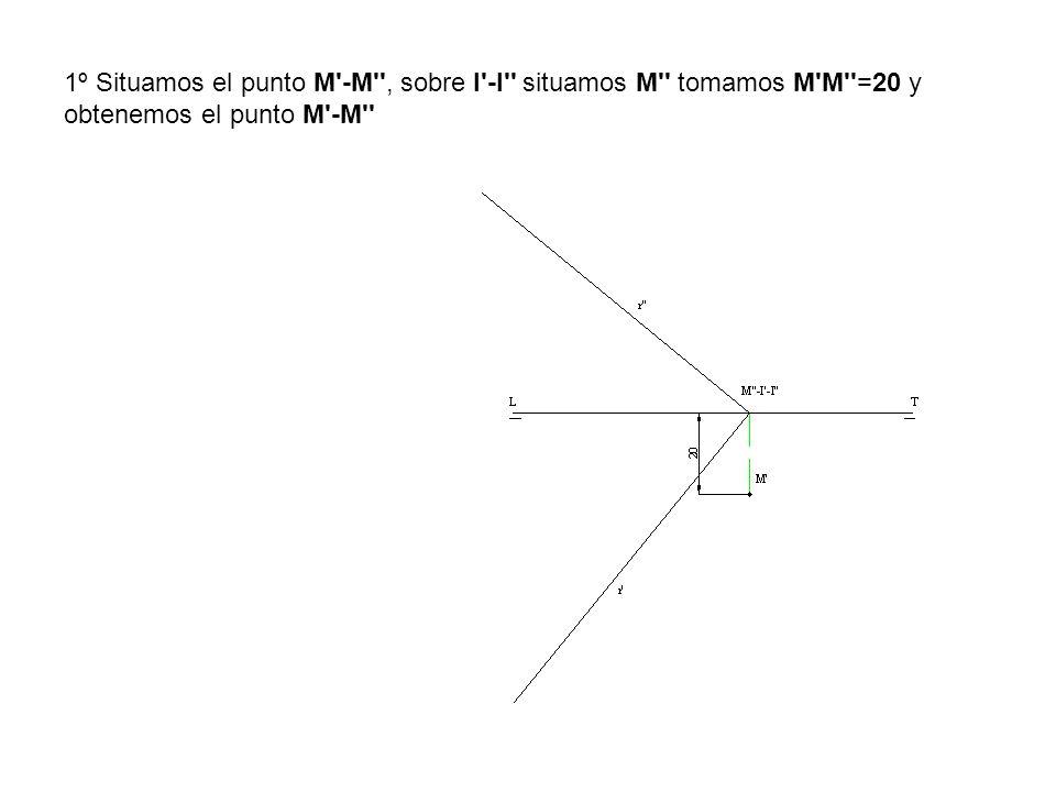 1º Situamos el punto M -M , sobre I -I situamos M tomamos M M =20 y obtenemos el punto M -M