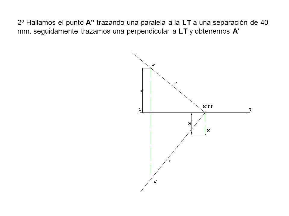 2º Hallamos el punto A trazando una paralela a la LT a una separación de 40 mm.