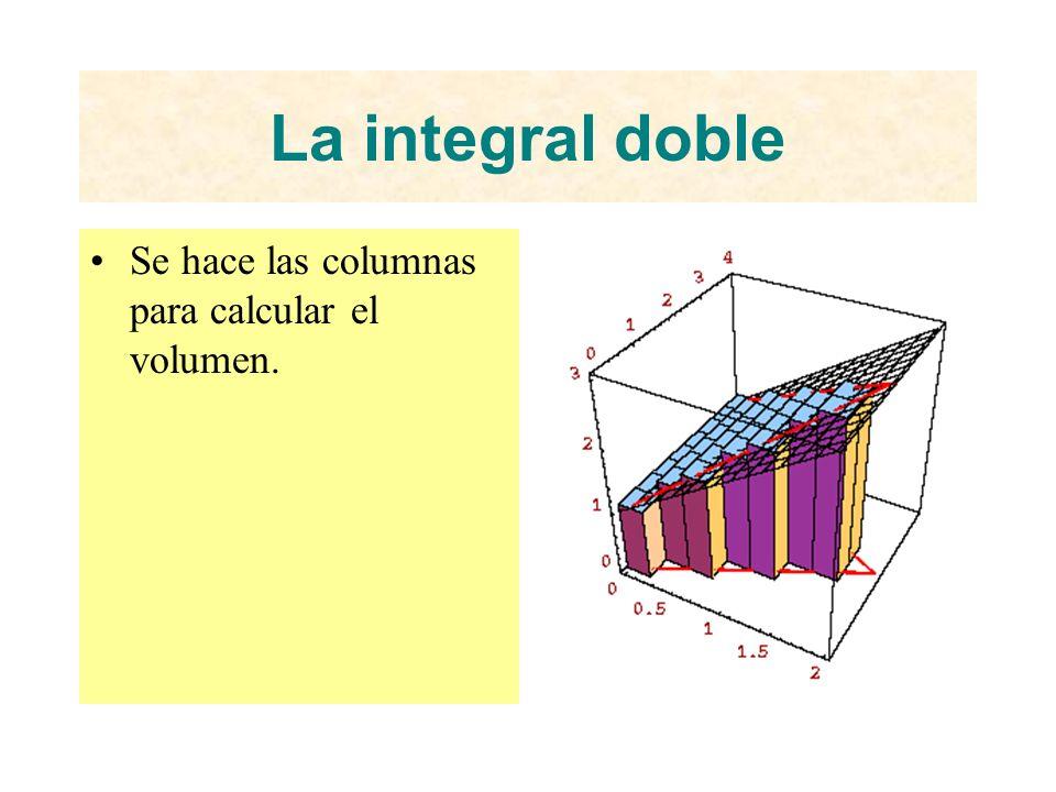 La integral doble Se hace las columnas para calcular el volumen.