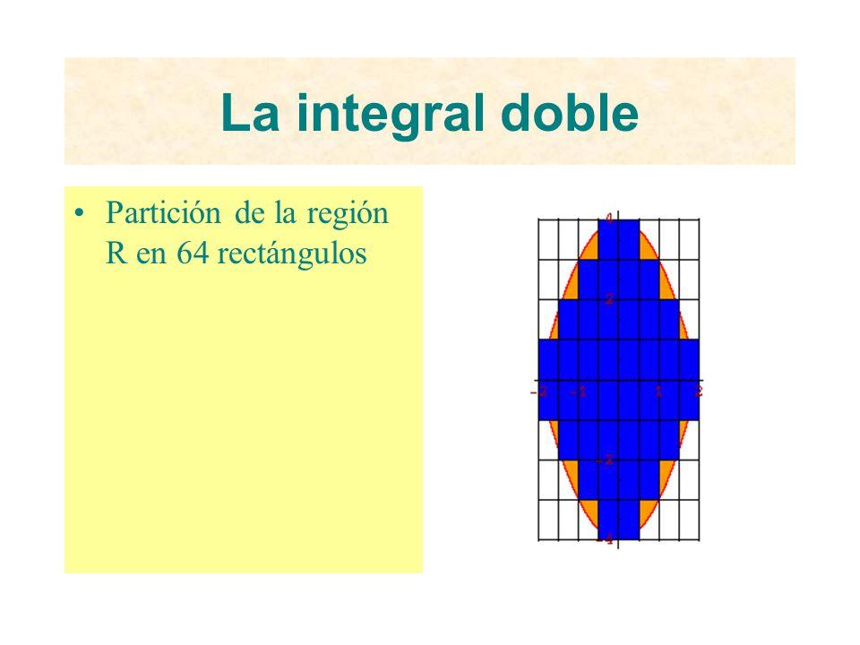 La integral doble Partición de la región R en 64 rectángulos