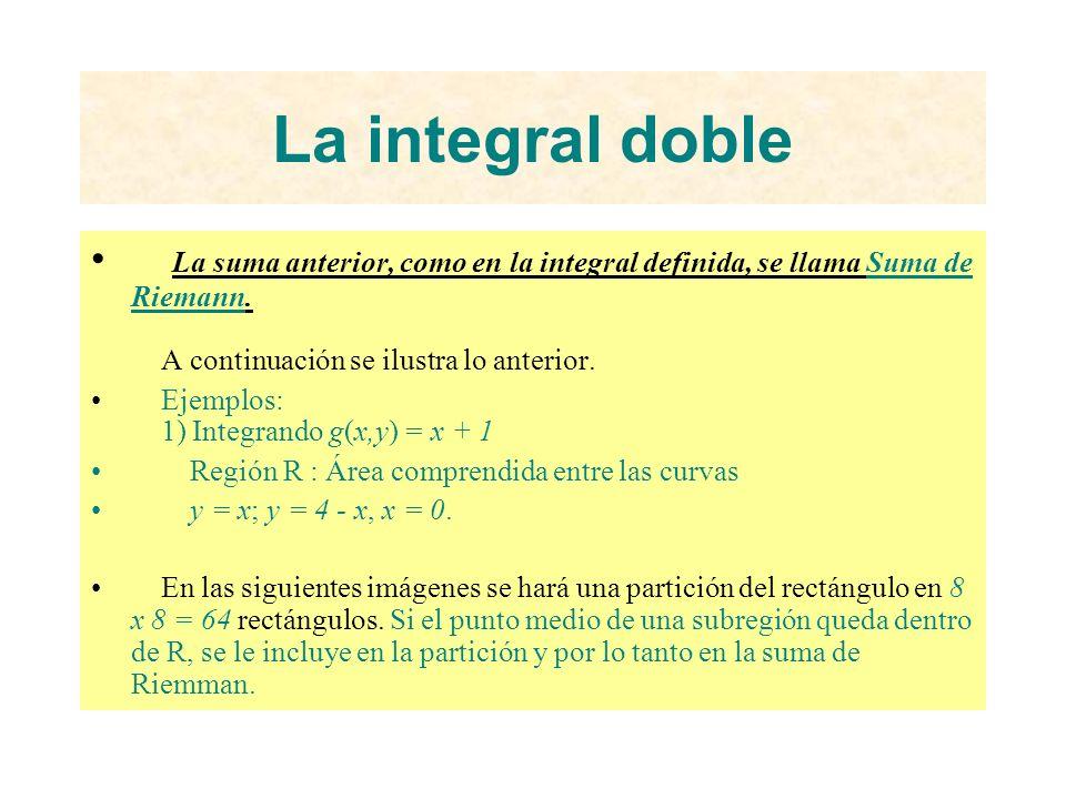 La integral doble La suma anterior, como en la integral definida, se llama Suma de Riemann. A continuación se ilustra lo anterior.