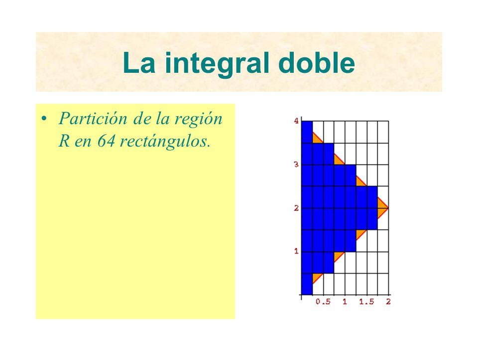 La integral doble Partición de la región R en 64 rectángulos.