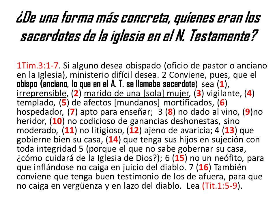 ¿De una forma más concreta, quienes eran los sacerdotes de la iglesia en el N. Testamente