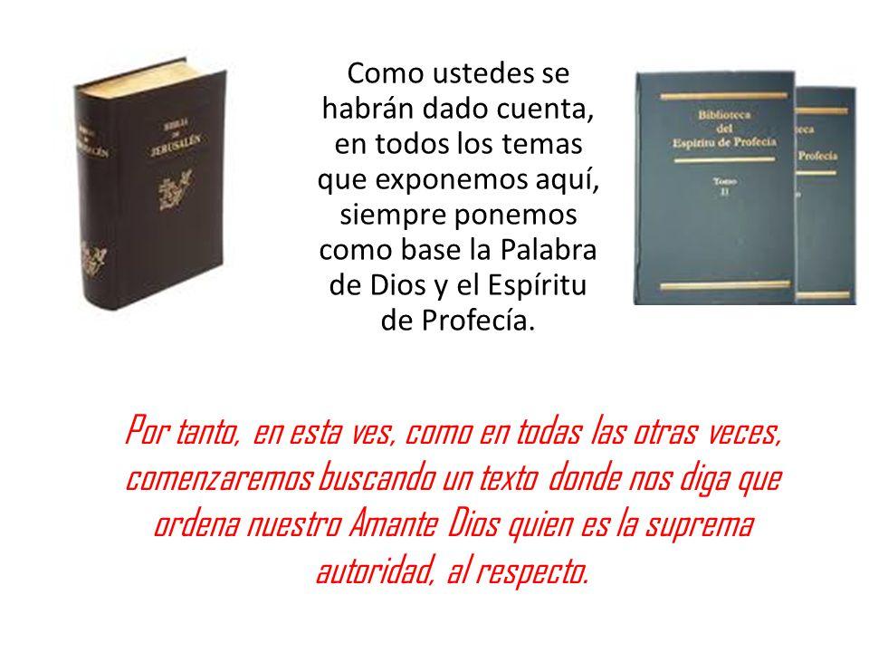Como ustedes se habrán dado cuenta, en todos los temas que exponemos aquí, siempre ponemos como base la Palabra de Dios y el Espíritu de Profecía.