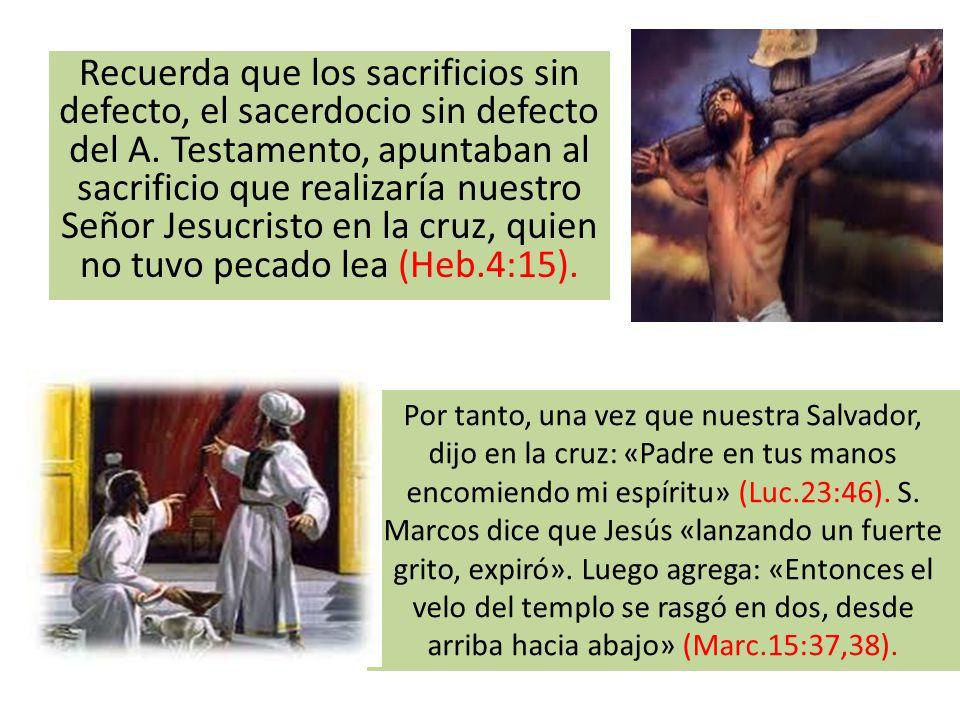 Recuerda que los sacrificios sin defecto, el sacerdocio sin defecto del A. Testamento, apuntaban al sacrificio que realizaría nuestro Señor Jesucristo en la cruz, quien no tuvo pecado lea (Heb.4:15).