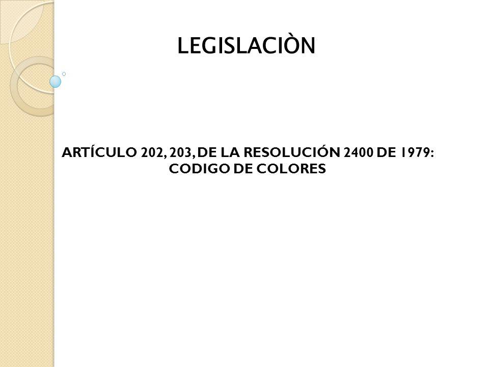 ARTÍCULO 202, 203, DE LA RESOLUCIÓN 2400 DE 1979: