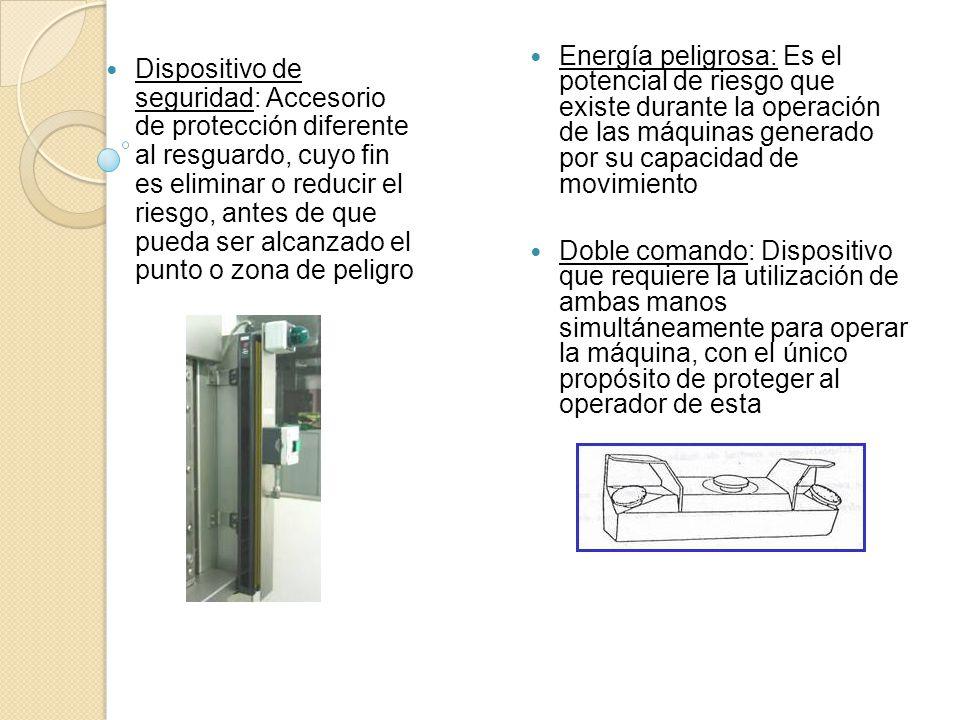 Energía peligrosa: Es el potencial de riesgo que existe durante la operación de las máquinas generado por su capacidad de movimiento