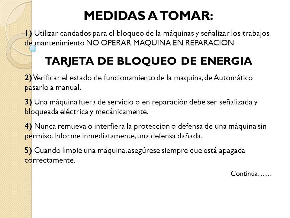 TARJETA DE BLOQUEO DE ENERGIA