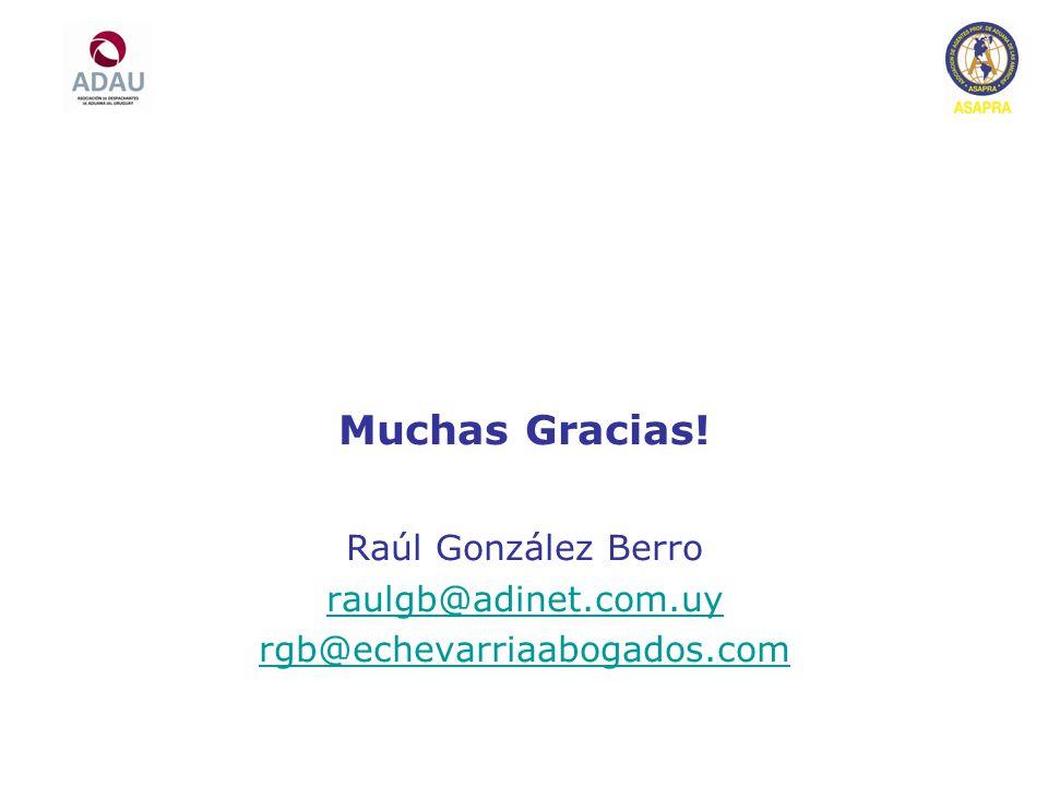 Muchas Gracias! Raúl González Berro raulgb@adinet.com.uy