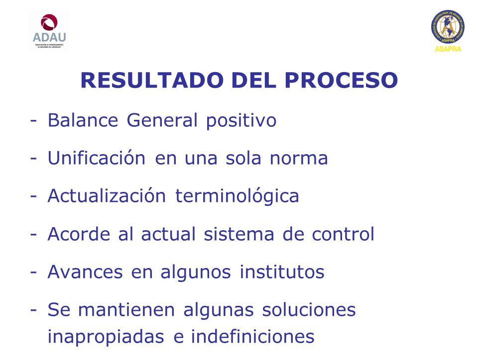 RESULTADO DEL PROCESO Balance General positivo