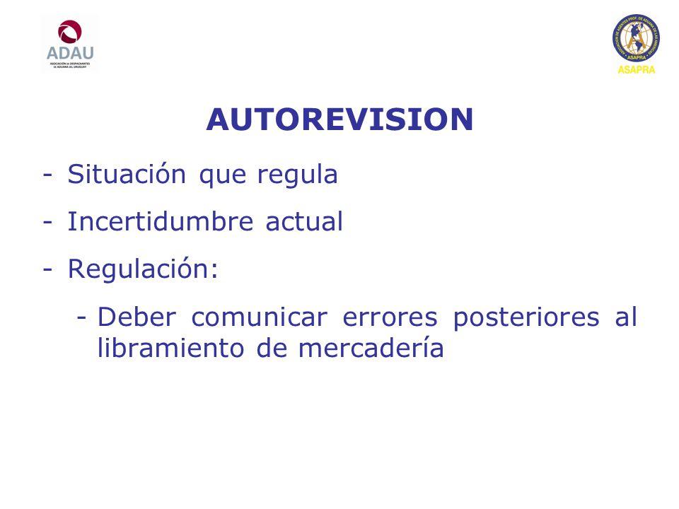 AUTOREVISION Situación que regula Incertidumbre actual Regulación: