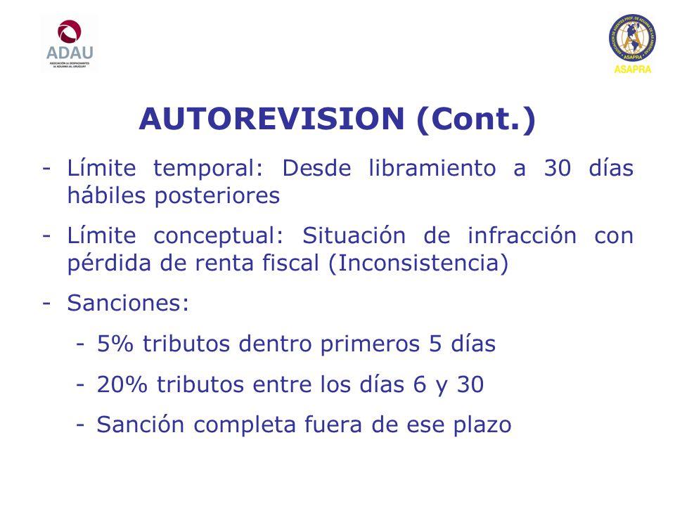 AUTOREVISION (Cont.) Límite temporal: Desde libramiento a 30 días hábiles posteriores.