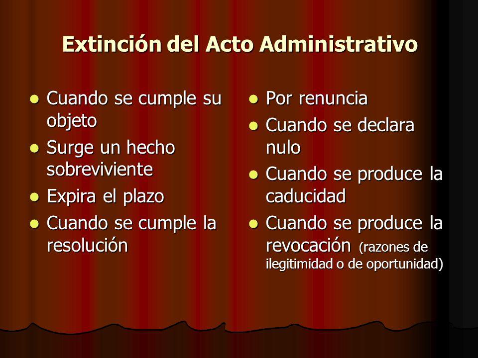 Extinción del Acto Administrativo