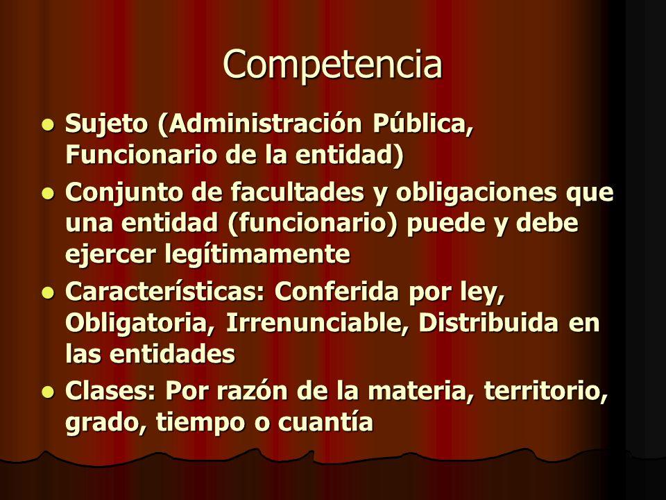 Competencia Sujeto (Administración Pública, Funcionario de la entidad)