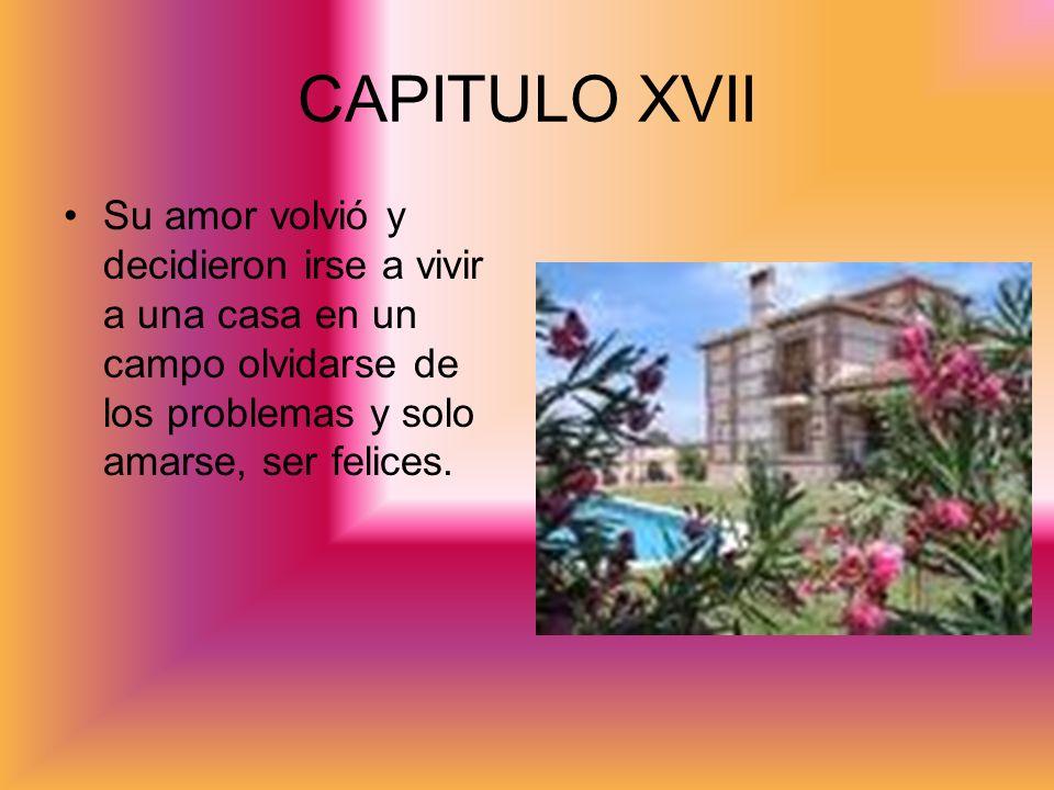 CAPITULO XVIISu amor volvió y decidieron irse a vivir a una casa en un campo olvidarse de los problemas y solo amarse, ser felices.