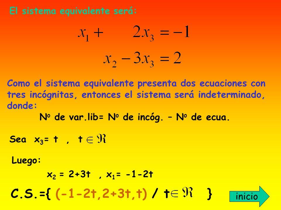 C.S.={ (-1-2t,2+3t,t) / t } El sistema equivalente será: