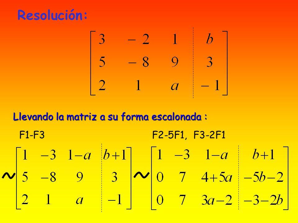 Resolución: Llevando la matriz a su forma escalonada : F1-F3