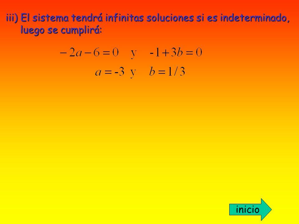 iii) El sistema tendrá infinitas soluciones si es indeterminado,