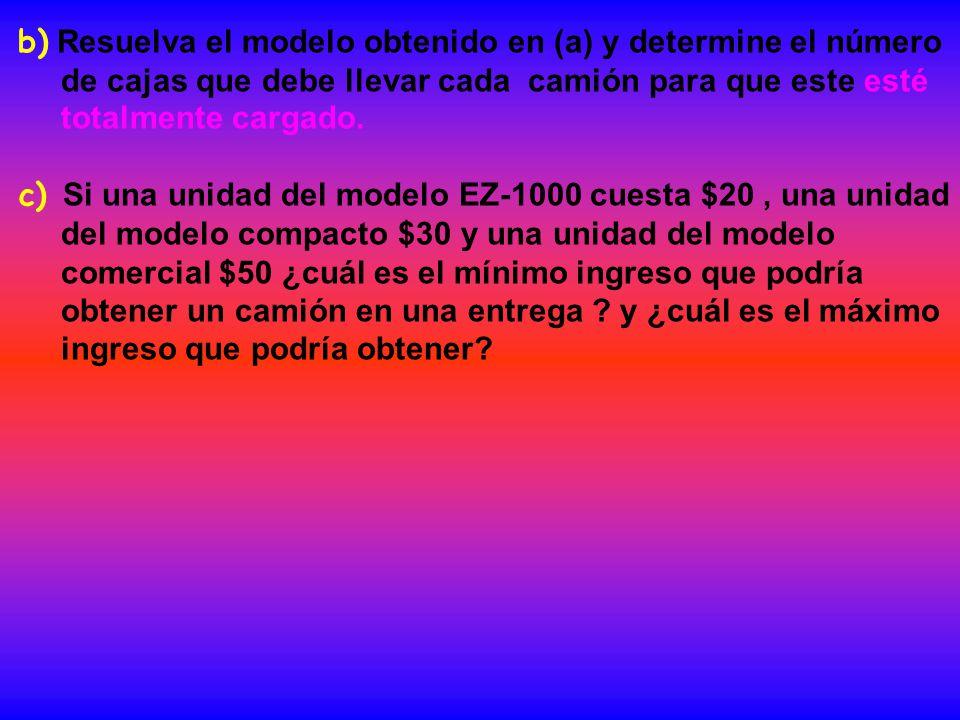 b) Resuelva el modelo obtenido en (a) y determine el número de cajas que debe llevar cada camión para que este esté totalmente cargado.