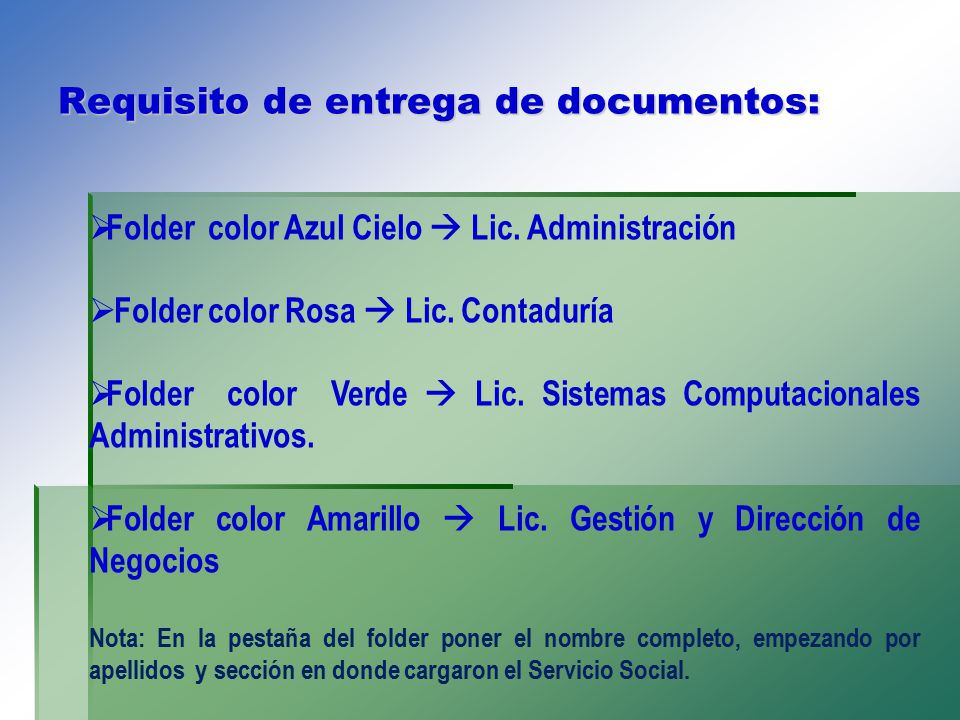 Requisito de entrega de documentos: