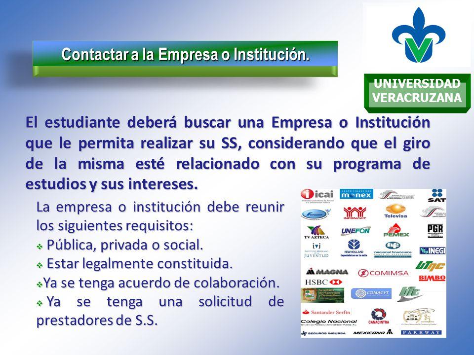 UNIVERSIDAD VERACRUZANA Contactar a la Empresa o Institución.