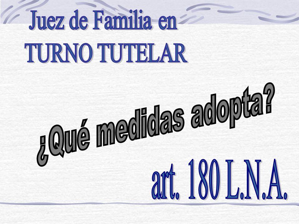 Juez de Familia en TURNO TUTELAR ¿Qué medidas adopta art. 180 L.N.A.