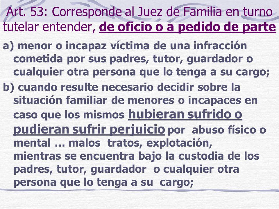 Art. 53: Corresponde al Juez de Familia en turno tutelar entender, de oficio o a pedido de parte