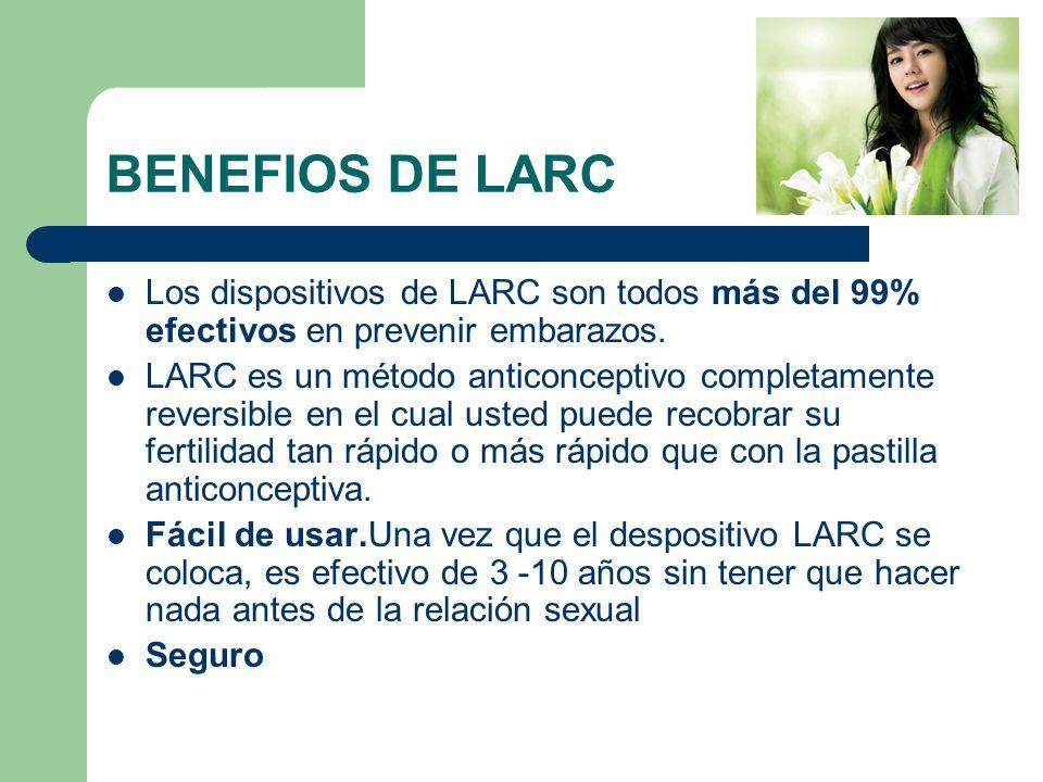 BENEFIOS DE LARC Los dispositivos de LARC son todos más del 99% efectivos en prevenir embarazos.