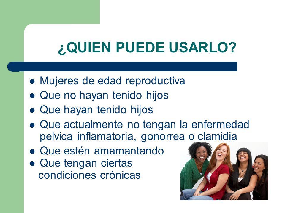 ¿QUIEN PUEDE USARLO Mujeres de edad reproductiva