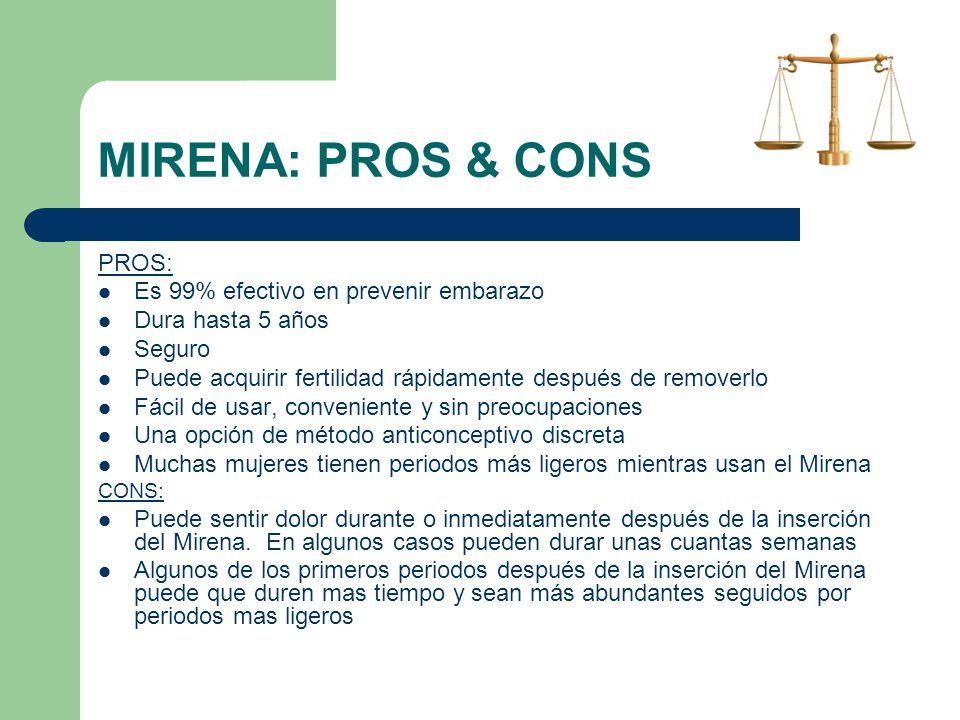 MIRENA: PROS & CONS PROS: Es 99% efectivo en prevenir embarazo