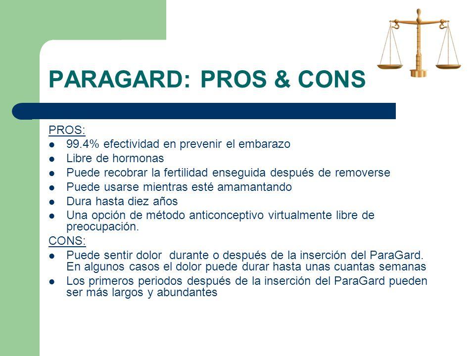 PARAGARD: PROS & CONS PROS: 99.4% efectividad en prevenir el embarazo