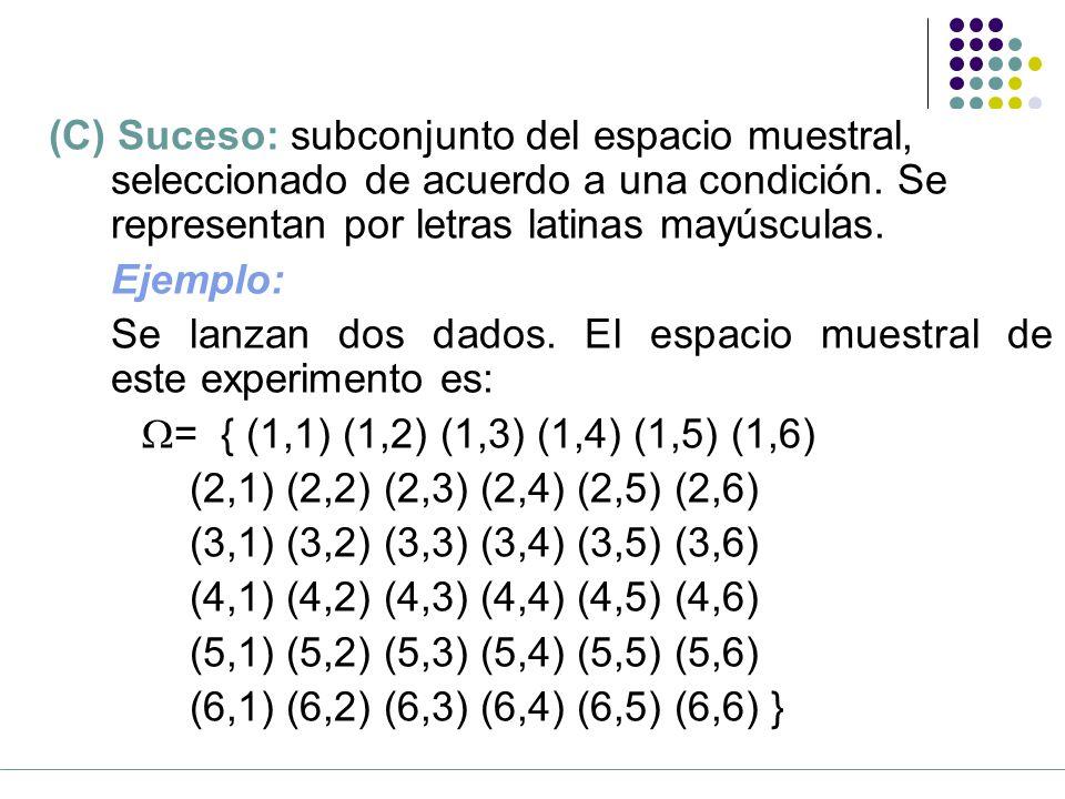 (C) Suceso: subconjunto del espacio muestral,
