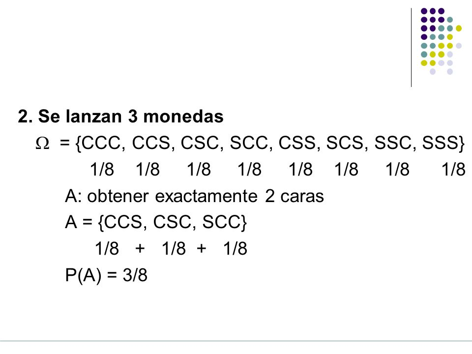 2. Se lanzan 3 monedas W = {CCC, CCS, CSC, SCC, CSS, SCS, SSC, SSS} 1/8 1/8 1/8 1/8 1/8 1/8 1/8 1/8.