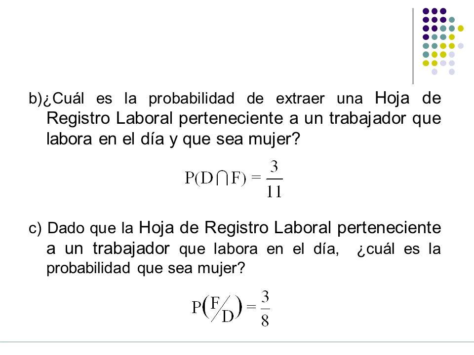 b)¿Cuál es la probabilidad de extraer una Hoja de Registro Laboral perteneciente a un trabajador que labora en el día y que sea mujer