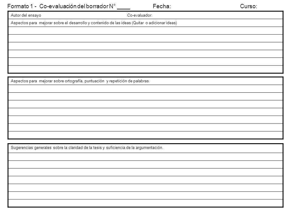 Formato 1 - Co-evaluación del borrador N° ____ Fecha: Curso: