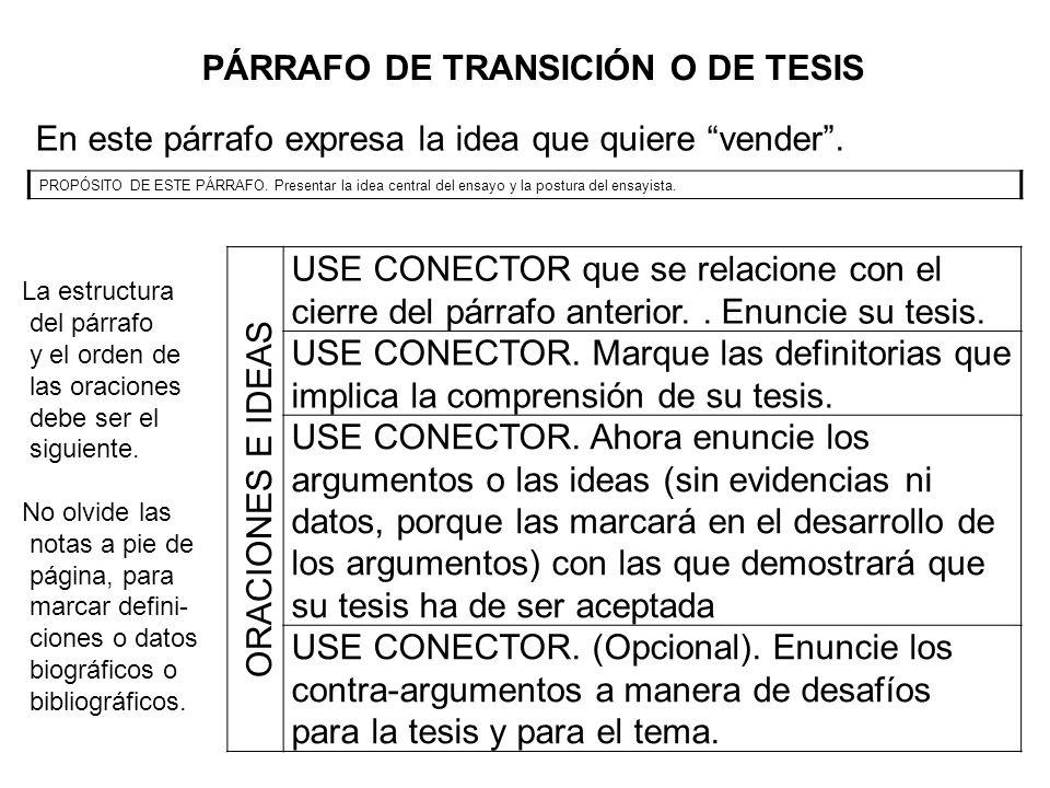 PÁRRAFO DE TRANSICIÓN O DE TESIS