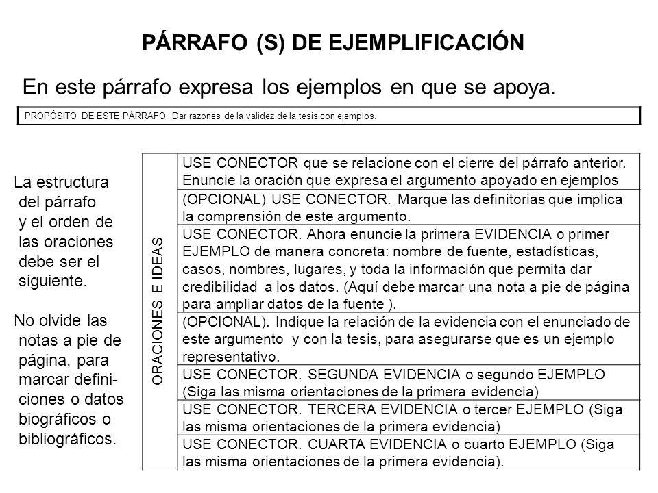 PÁRRAFO (S) DE EJEMPLIFICACIÓN