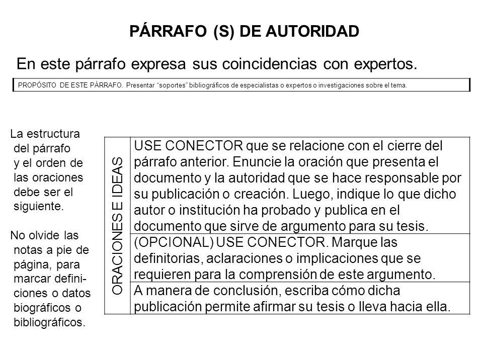 PÁRRAFO (S) DE AUTORIDAD