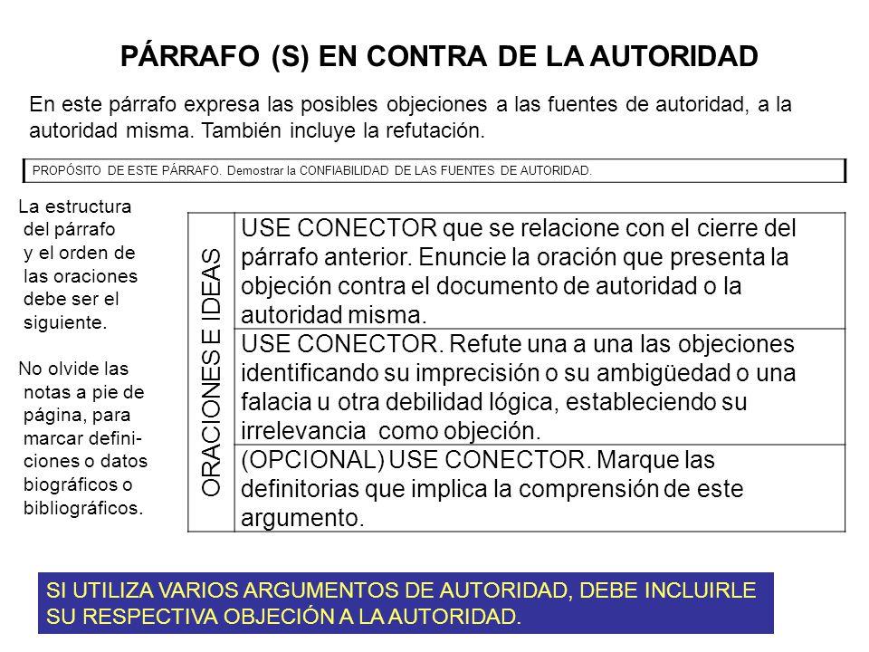 PÁRRAFO (S) EN CONTRA DE LA AUTORIDAD