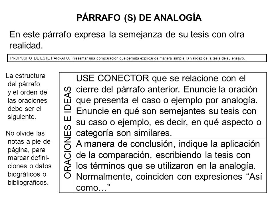 PÁRRAFO (S) DE ANALOGÍA