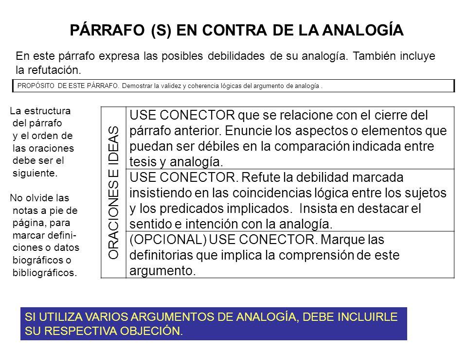PÁRRAFO (S) EN CONTRA DE LA ANALOGÍA