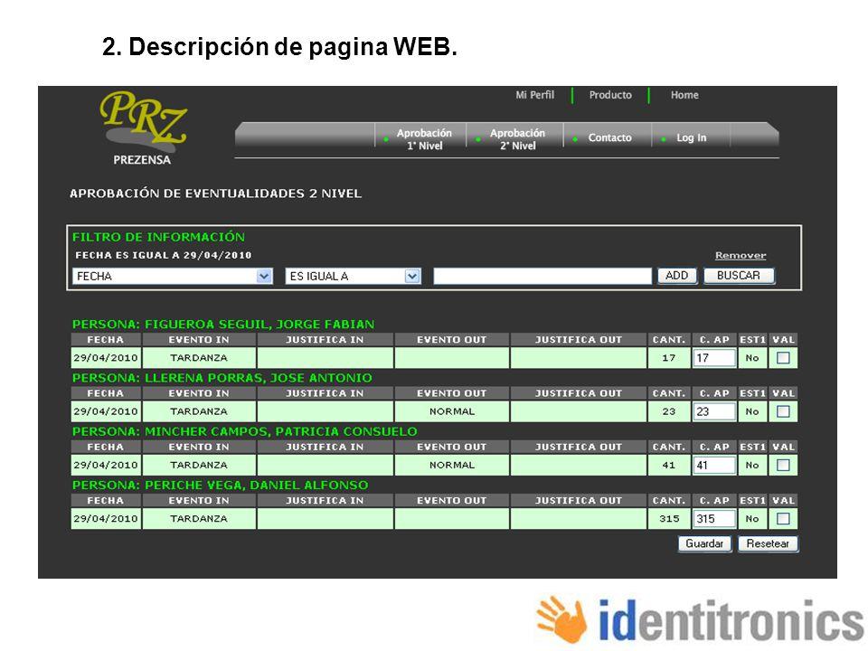 2. Descripción de pagina WEB.