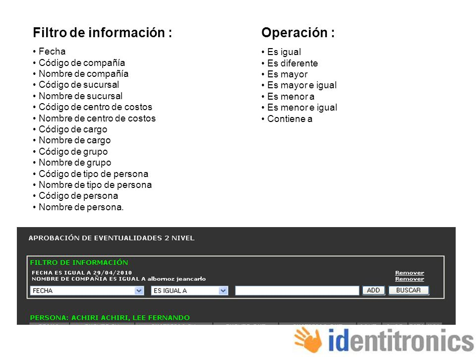 Filtro de información :