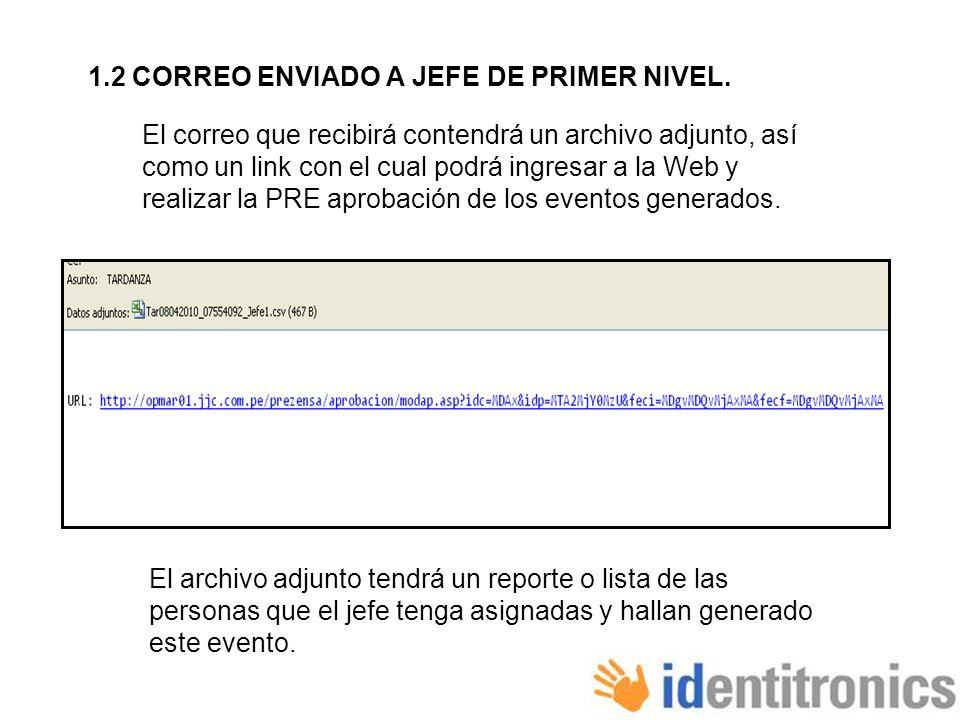 1.2 CORREO ENVIADO A JEFE DE PRIMER NIVEL.