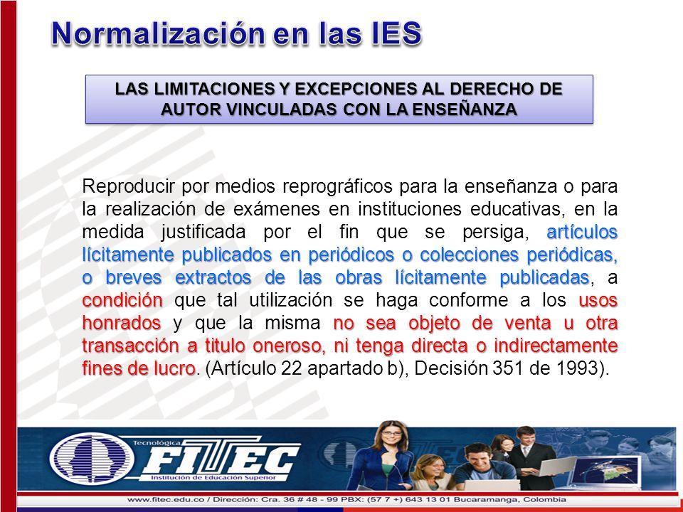 Normalización en las IES