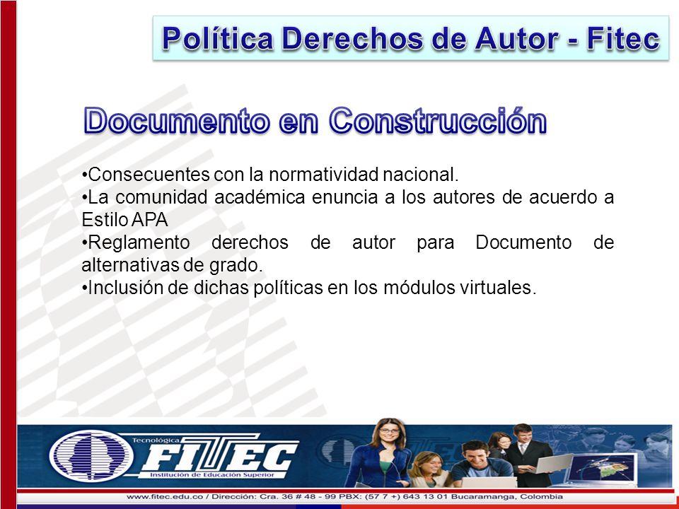 Política Derechos de Autor - Fitec Documento en Construcción