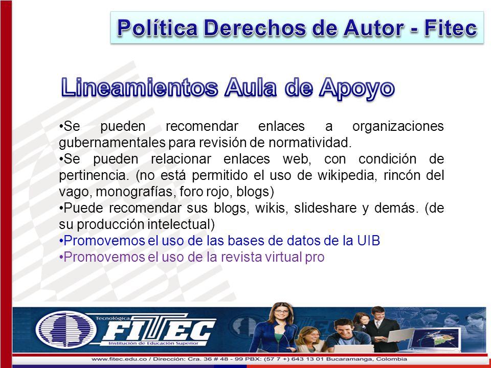 Política Derechos de Autor - Fitec Lineamientos Aula de Apoyo